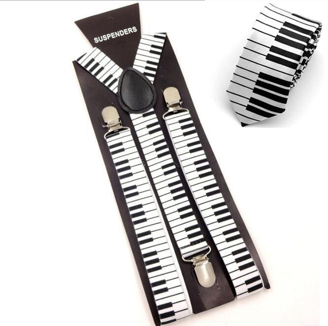 Unique Men Unisex Suspender Set Office Casual Elastic Suspenders Music Piano Y-Shape Clip-on Braces With 5cm Tie