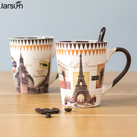 Jarsun European Style Coffee Spoon Vintage Mug Cup Ceramic Cup Individual Milk Cup With Lid