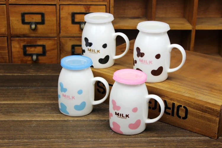 spotted kuh tasse mit deckel keramik tasse milch tasse. Black Bedroom Furniture Sets. Home Design Ideas
