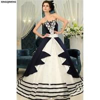 Vintage Whith et Noir Quinceanera Robes Mazarine Bleu Élégant robes de 15 anos Pas Cher Doux 16 Robes Fantaisie robe de Bal