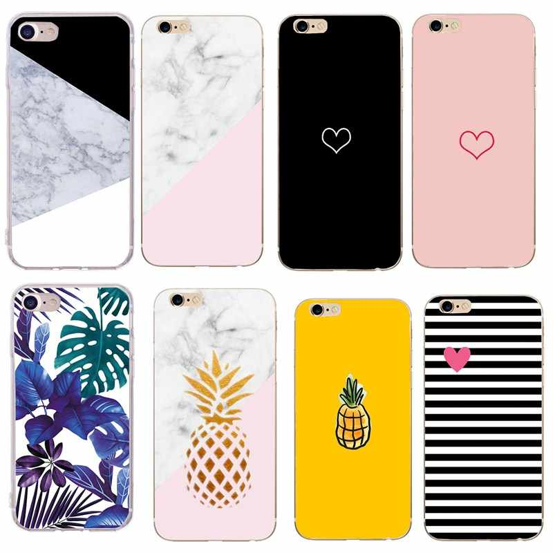 Marmer Ananas Case Voor Iphone 7 Case Cover Siliconen Mat Cover Gevallen Voor Iphone 8 7 Plus X 6 6 s Plus Luxe Case Fundas Capa