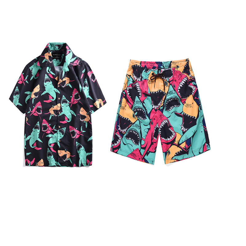 Mr.1991IN Summer Vacation Sets Men's Shark Printed Tropical Style Beach Hawaiian Suit Short Shirts Shorts Two Piece Suit