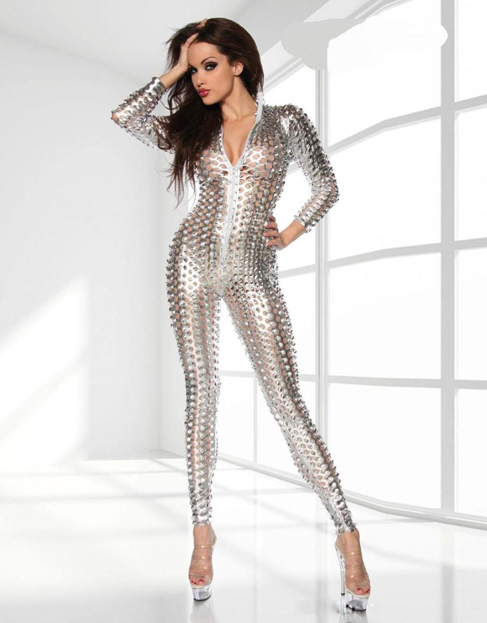 Silver-Metallic-Clubwear-Catsuit-with-Cutouts-W7711B-2