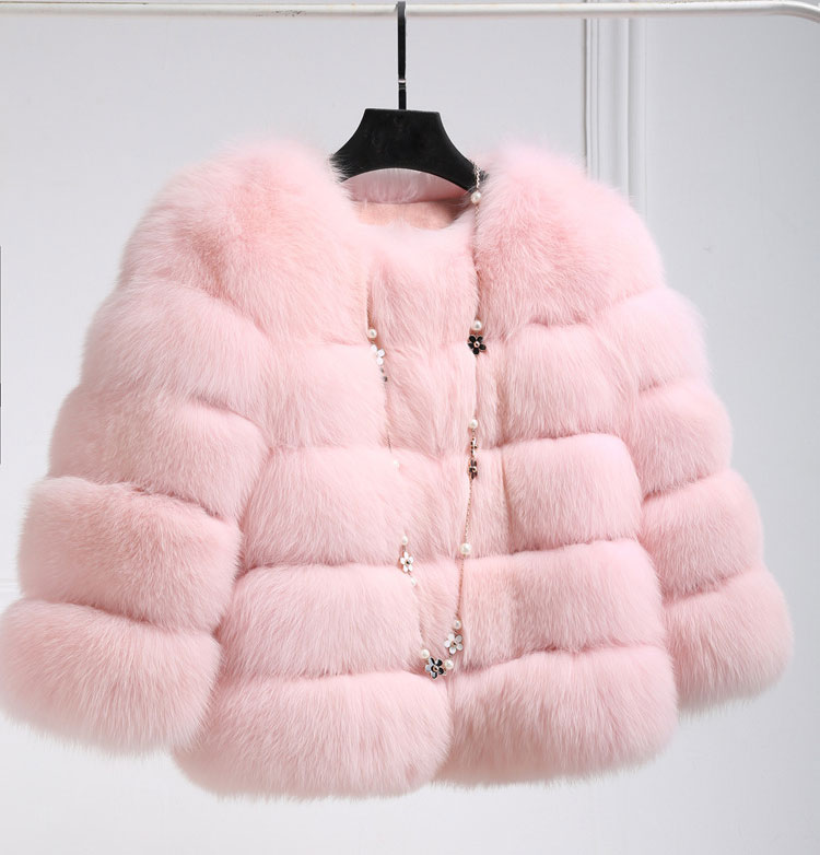 Uwback Růžová / Černá Faux Fox Fur Gilet 2017 Nová krátká umělá kožešinová bunda Plus velikost Kuřecí Windbreak Outwear Kabáty Mujer TB1316
