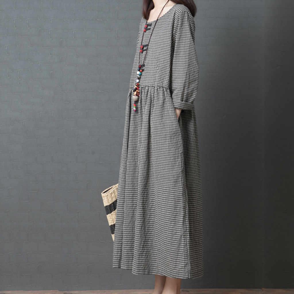 Новинка 2019 года; женское летнее платье; длинное платье в японском стиле с длинными рукавами; платье в клетку; Vestido