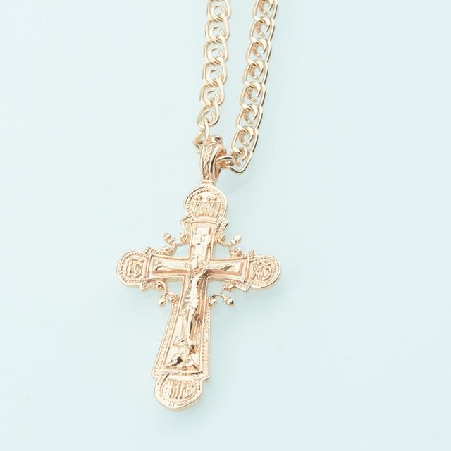 Fj Trendy Women Mens 585 Rose Gold Color Cross Pendant Christian