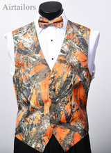 Airtailors 2019 New Fashion Camo Suit Vest for Rustic Wedding Mens Camouflage Dress Men Plus Size Orange waistcoat men