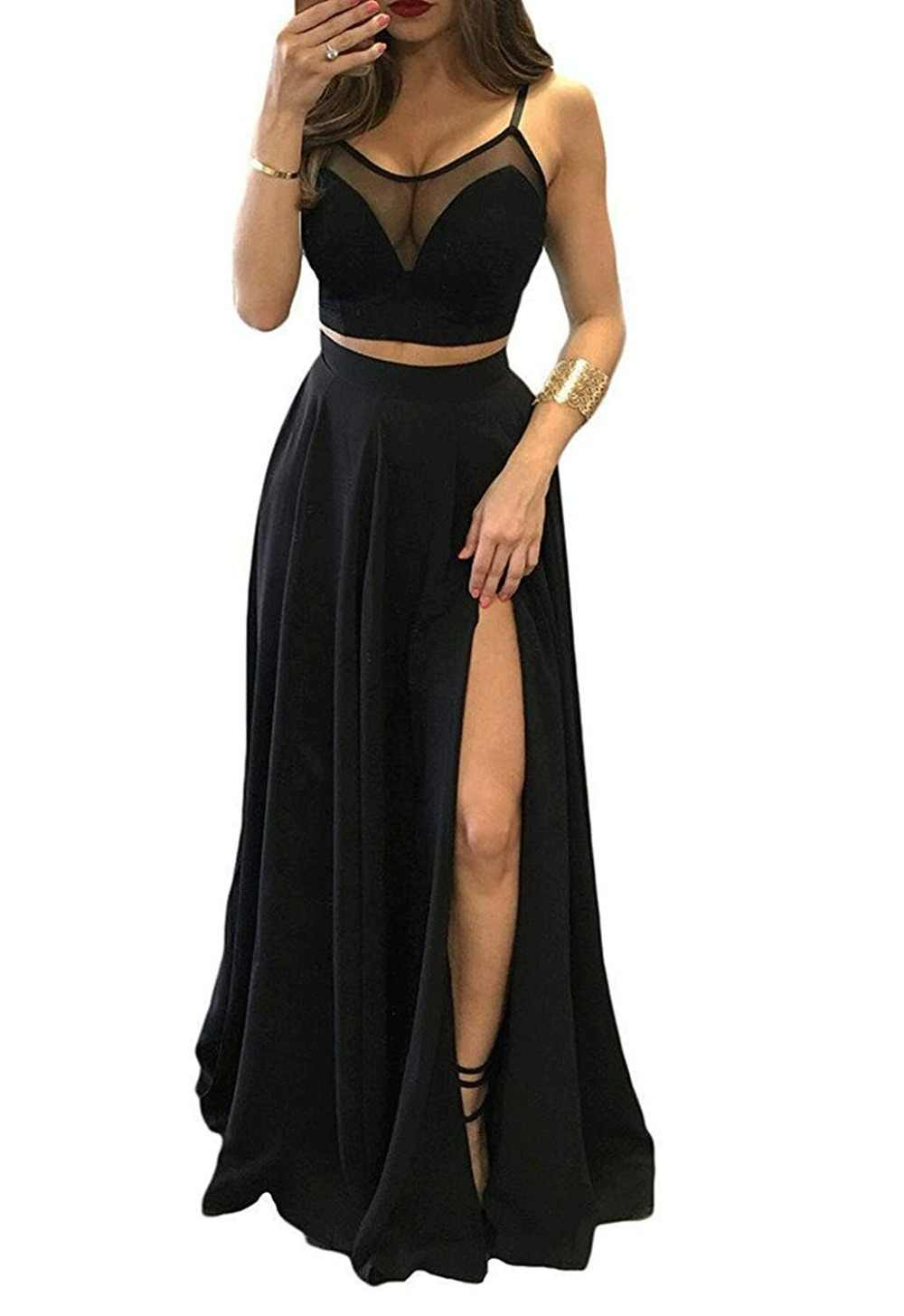 Modest Two Piece Black Bridesmaid Dresses Spaghetti A Line Floor Length Maid of Honor Prom Party Gowns Vestidos de Fiesta Cheap
