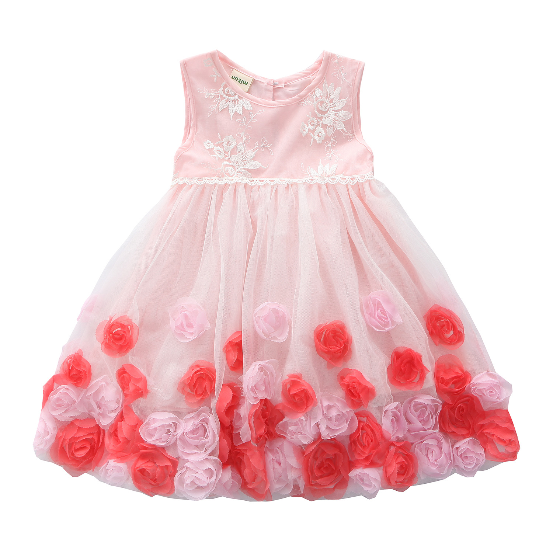 Buena calidad de alto grado 2017 nueva summer Girls Kid 3D flores estéreo cómodo lindo bebé Ropa de Niños Ropa