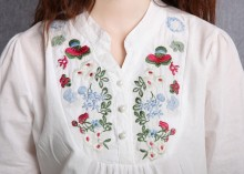 Vintage 70s Peasant Mexican Ethnic Floral Embroidered Boho Hippie Blouse Dress Clothing Vestidos S M L