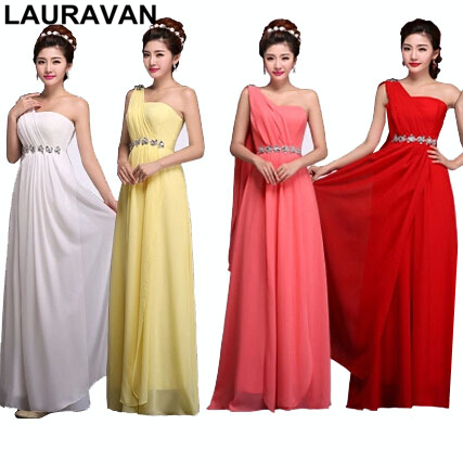 Light Yellow 2019 Blue Red Party One Shoulder Bridesmaid Chiffon A Line Bridemaid Dress Coral Dresses Long Purple Gown