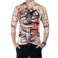 Chinese Style 2016 Men's T Shirts Fashion New V-Neck Slim Fit Long Sleeve 3D T Shirt Mens Dragon Print Casual Cotton T-Shirt 5XL