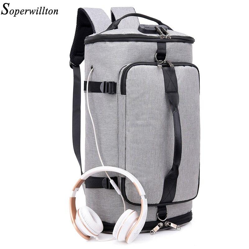 Soperwilltion Travel Backpack bag Men Backpack Shoe Pocket Multifunction Men Bag Waterproof 15 6 inch Laptop