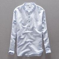 High End Brand Linen Men Shirt Long Sleeve Men Casual Shirts Flax Dress Shirt For Men