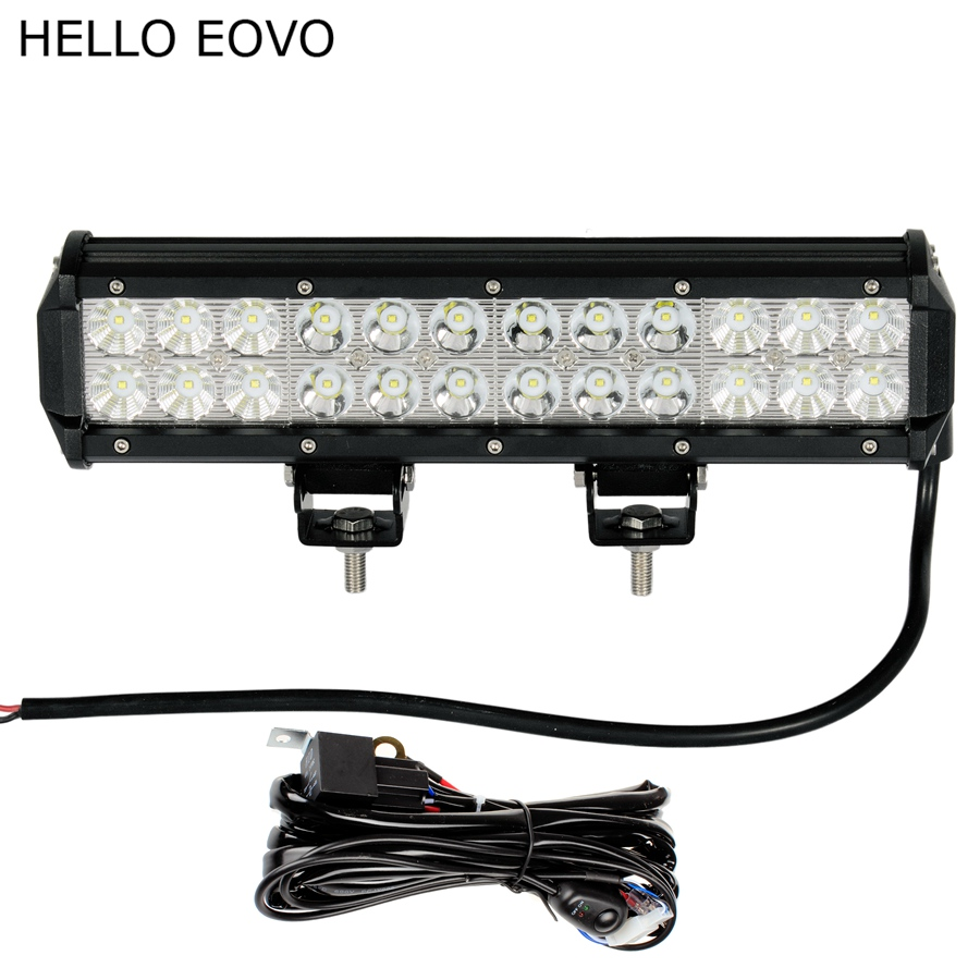 Hello Eovo 12 Inch 72w Led Work Light Bar Wiring Kit For