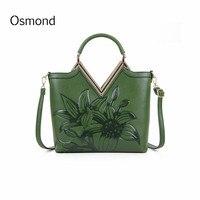 Osmond Green Red Luxury Leather Handbags Women Vintage Embossed Shoulder Bags Ladies Totes Large Crossbody Bag Bolsos Feminine