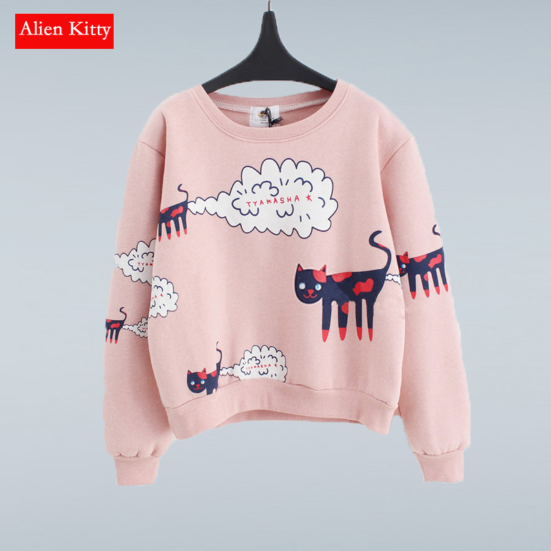 Alien Kitty New 2019 Sweatshirt Women Tops Plus Size Loose Casual Plus Thick Velvet Cartoon Cat Pattern Sweatshirts Pullovers