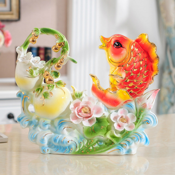 Enamelled fish ornaments Gourd cabbage ceramic home decoration living room flowers money Wedding gift