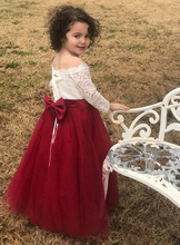2019 Summer Girls Dress Boat Neck Bare Shoulders 3/4 Sleeves Lace Burgundy Toddler Little Kids Clothing Party Flower Girl Dress