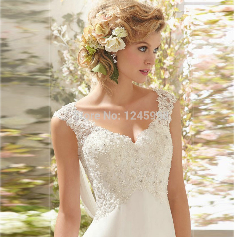2015 Elegant A Line Beaded Open Back V neck White Lace Wedding Dress ...