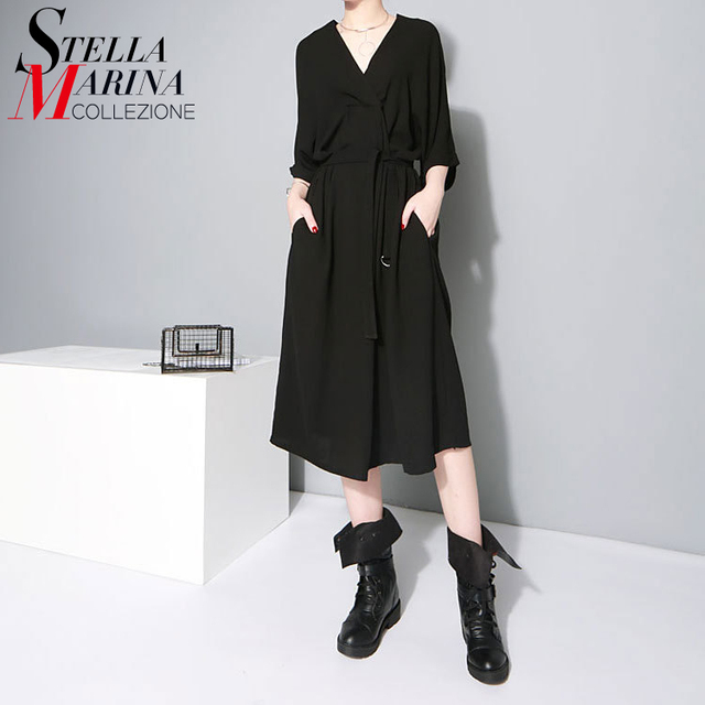 Estilo europeo 2017 mujeres oficina dress natural cuello en v medio manga Con Cinturón Elegante Ladies Work Wear Vestidos de Gasa Estilo 1347