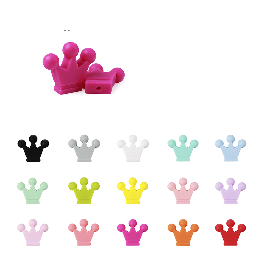 10pc Baby Tetether Beads 30mm Crown Silicone  Beads Chew Necklace Teethers Toy Baby Care Silicone