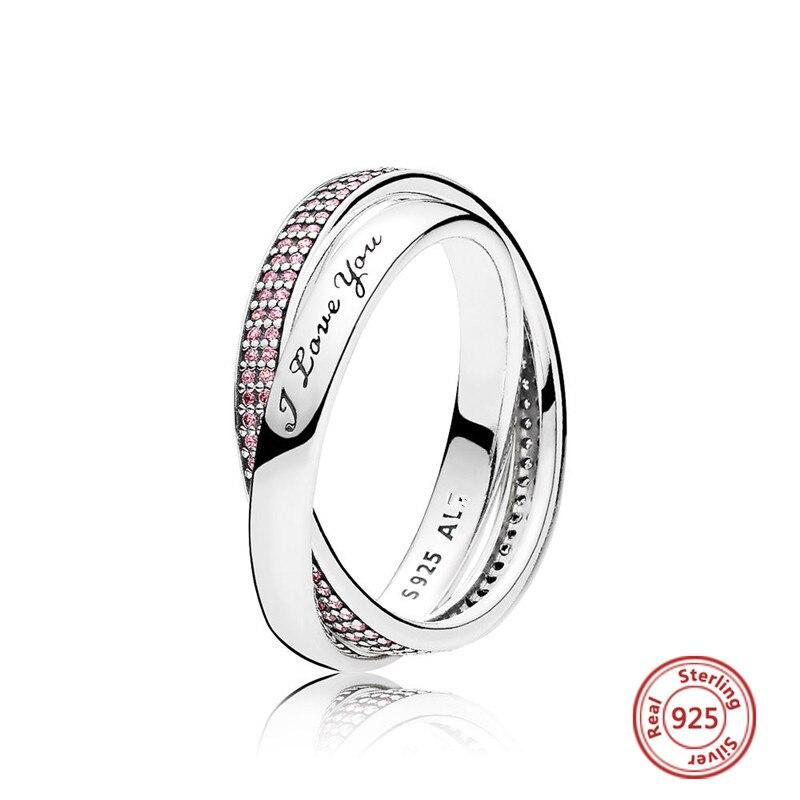 Идеальный логотип очарование выгравированы S925 стерлингового серебра прелести Я люблю тебя кольца сладкий Promise Ring для женщин, Анелло, anillo, ...