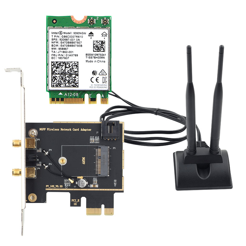 Image 2 - Dual band Desktop Wireless Intel 9260AC 9260NGW MU MIMO 802.11ac 1730Mbps Wifi Bluetooth 5.0 PCI E PCIe X1 Wlan Card + Antennas-in Network Cards from Computer & Office