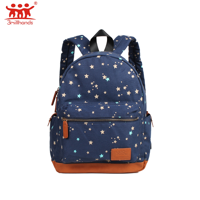ФОТО Limited Edition 3Millhands canvas backpacks star floral double strap Pu patchwork multi pockets backpack