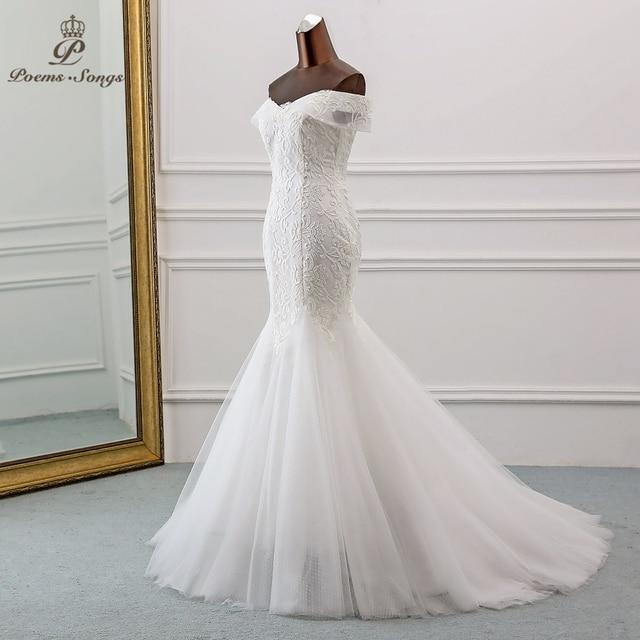 PoemsSongs  2019 new style Boat Neck beautiful sequined lace wedding dress for wedding Vestido de noiva Mermaid wedding dresses 2
