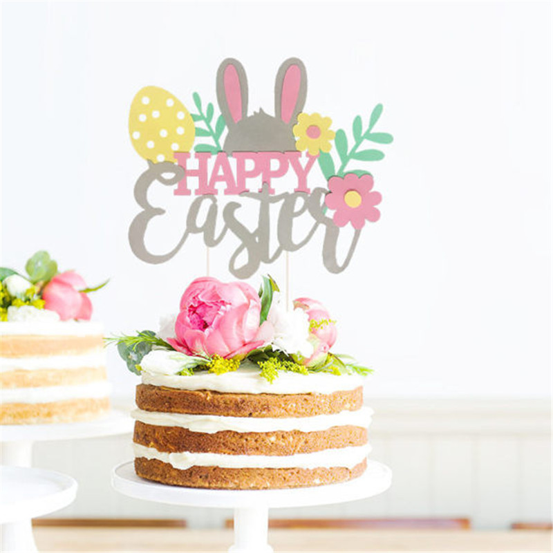 Omilut Happy Easter Cake Topper Decoration Birthday Party ...