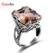 Szjinao 925 Sterling Silver ring Amber Square For Women Bridal Wedding Gemstone Rings Enagement Party Fine Jewelry High Quality