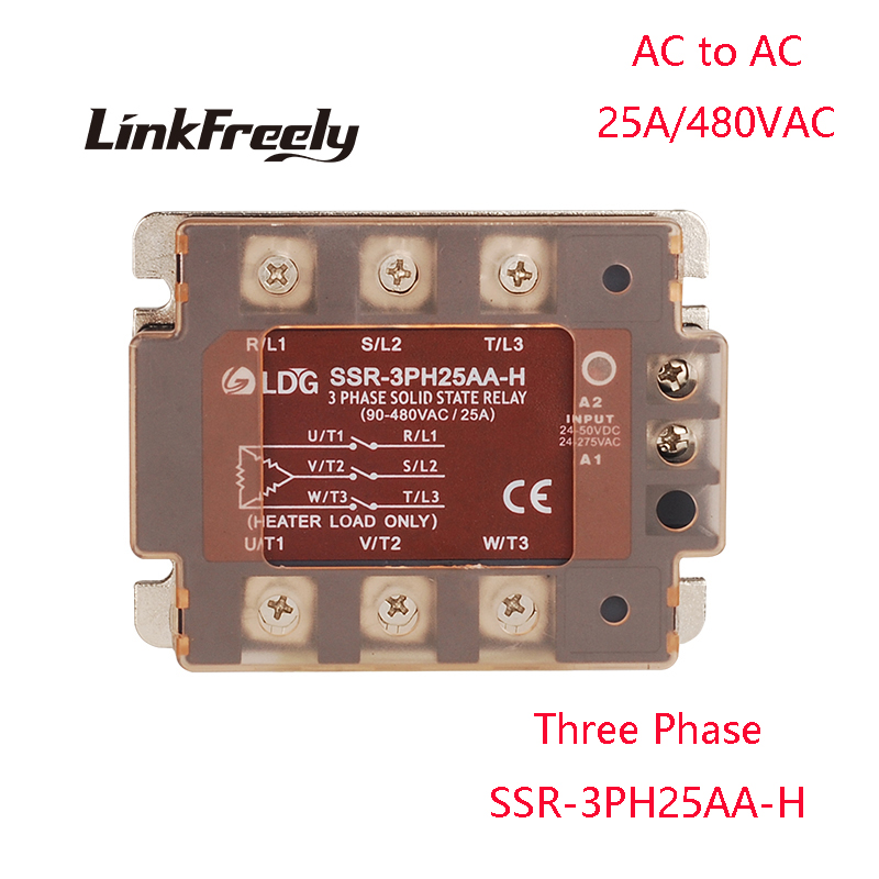 SSR-3PH25AA-H 2pcs LED Three Phase AC Solid State Relay 25A Output:90- 480VAC Input:80-250V AC control AC SSR Relay Switch Board цена 2017