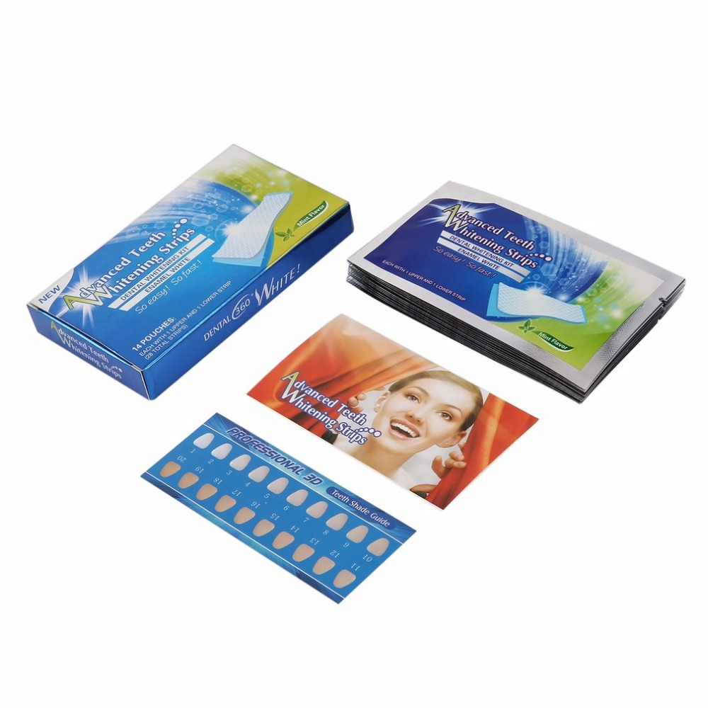 28Pcs/14Pair White Gel Teeth Whitening Strips Oral Hygiene Care Double Elastic Tooth Whitening Strips Dental Bleaching Tools