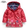 80-130cm 2017 Spring Kids Girls Jacket Fashion Flowers Girls Trench Coats Windbreaker Waterproof Children Clothing Outerwear