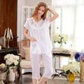 Puro Algodão-Manga Curta Mulheres Pijamas de Verão Treino Ocasional Terno Cor Sólida Doce Bonito Pijama Define Sleepwear Feminino