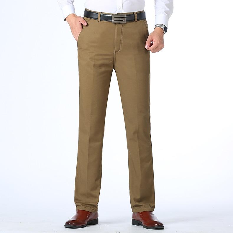 HTB1ZQogu3KTBuNkSne1q6yJoXXaj Autumn Winter Men Warm Fleece Classic Black Cotton Pants Mens Business Loose Long Trousers Quality Casual Work Pants Overalls