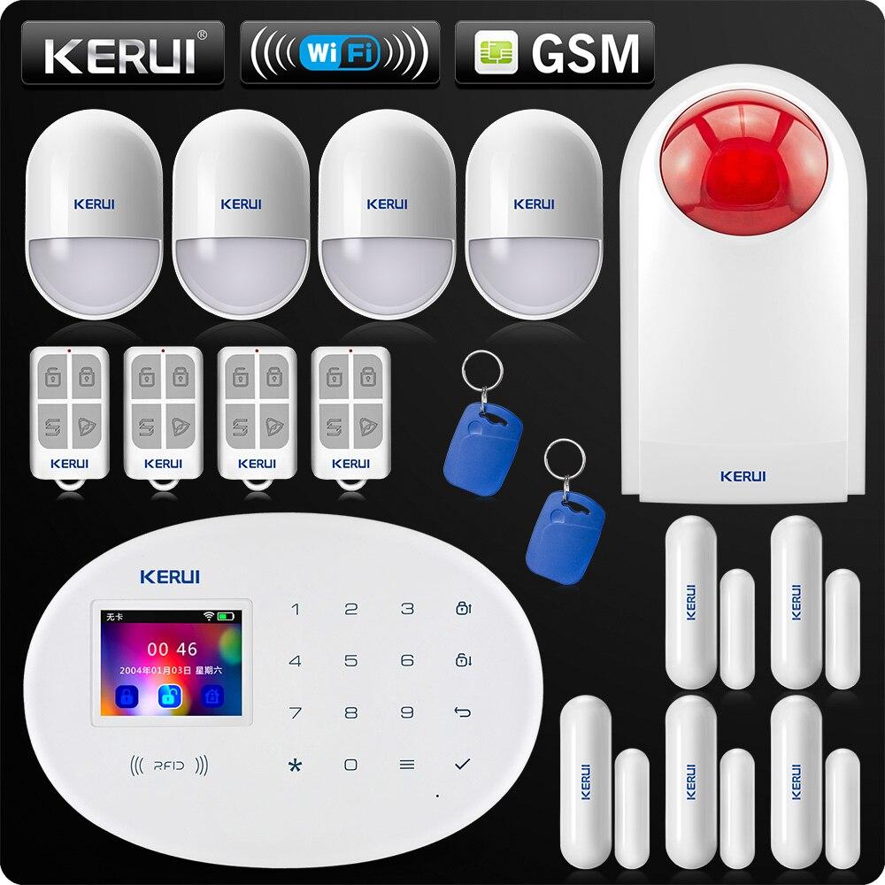 KERUI W20 Nouveau Modèle Sans Fil 2.4 pouce Écran Tactile WiFi GSM de Sécurité Système D'alarme Antivol APP PIR Sirène Motion Rfid contrôle
