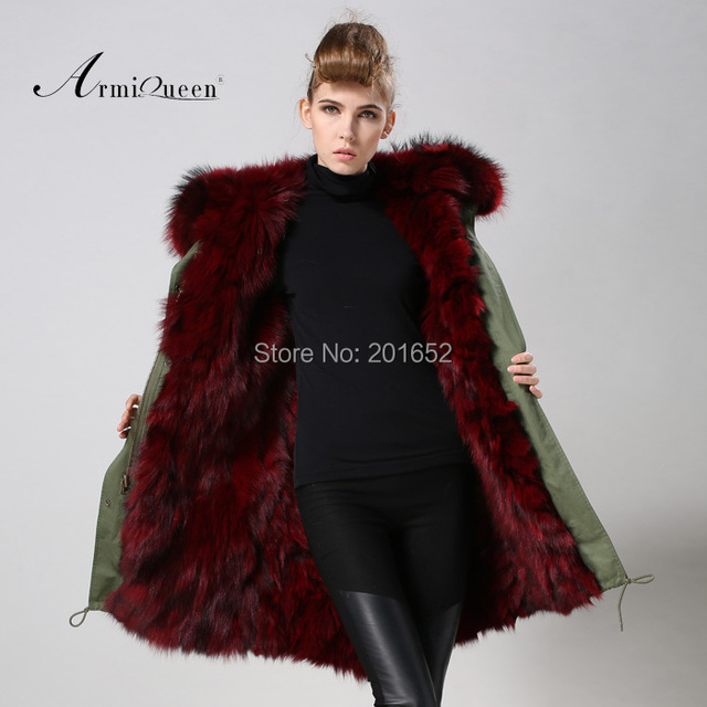 3d178a3e94fc9 2015 factory sale Detachable burgundy raccoon-fur hood trim real fox fur-lined  hooded