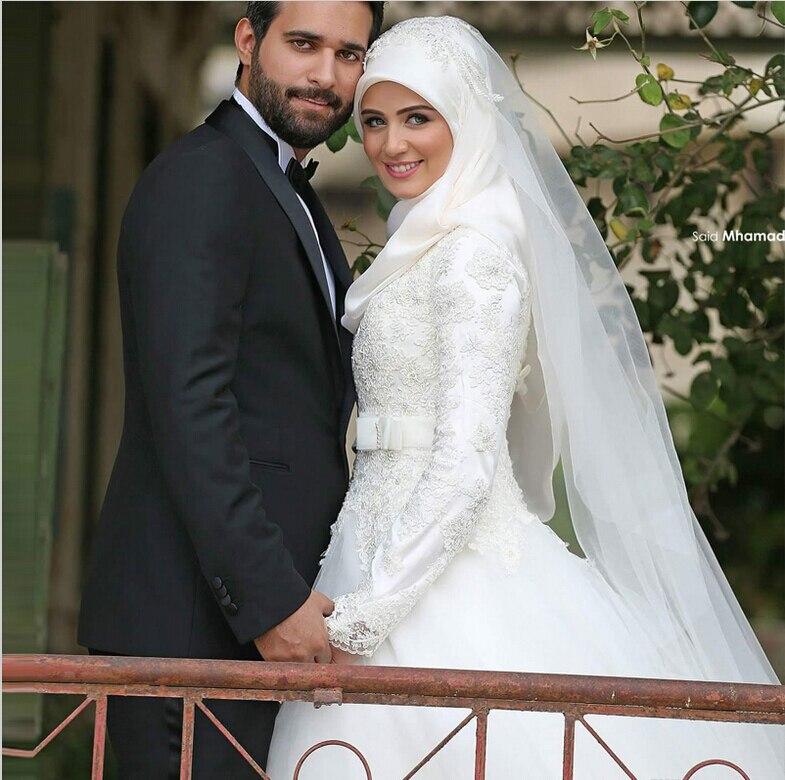 Islamic Wedding Dress Traditional Arabic Dresses White High Neck Long Sleeve Robe Dubai Gowns In From Weddings