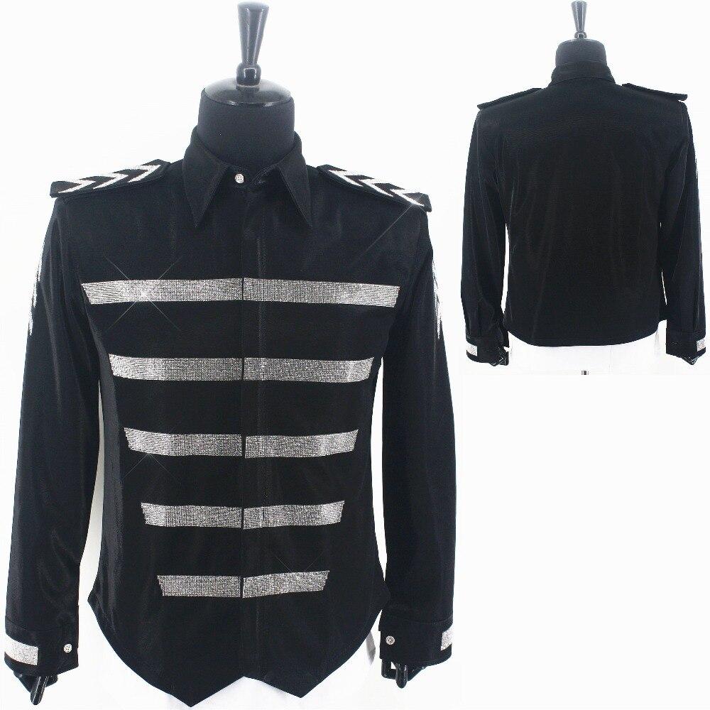 WOW Rare MJ Michael Jackson England Retro Militray Shirt Tuxedo Shirts Crystal Handmade 100% Cotton In 2002's
