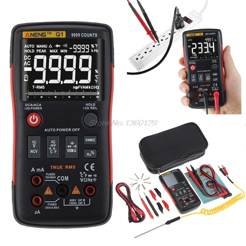 Q1 True-RMS Digital Multimeter Auto Button 9999 Counts Analog Bar Graph AC/DC Voltage Ammeter Current Ohm Transistor Tester XJ36