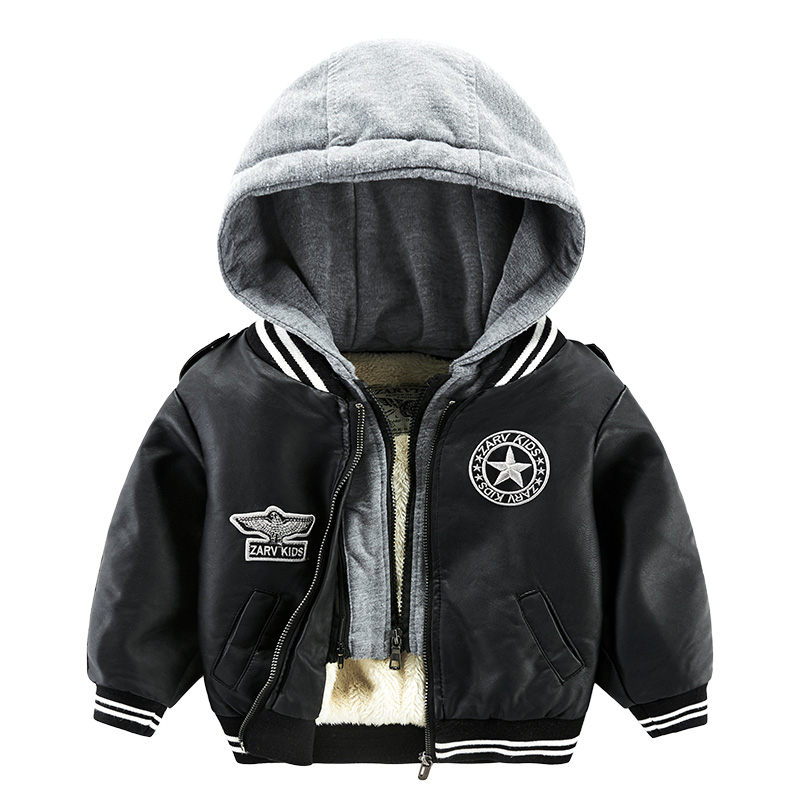 Children Thick Warm Winter Coats Leather Jackets For Boys High Quality Keep Warm Thicken Cotton Hooded Outcoats Fleece Jackets