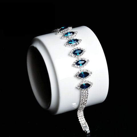 Модный браслет для женщин роскошный серебряного цвета с синим
