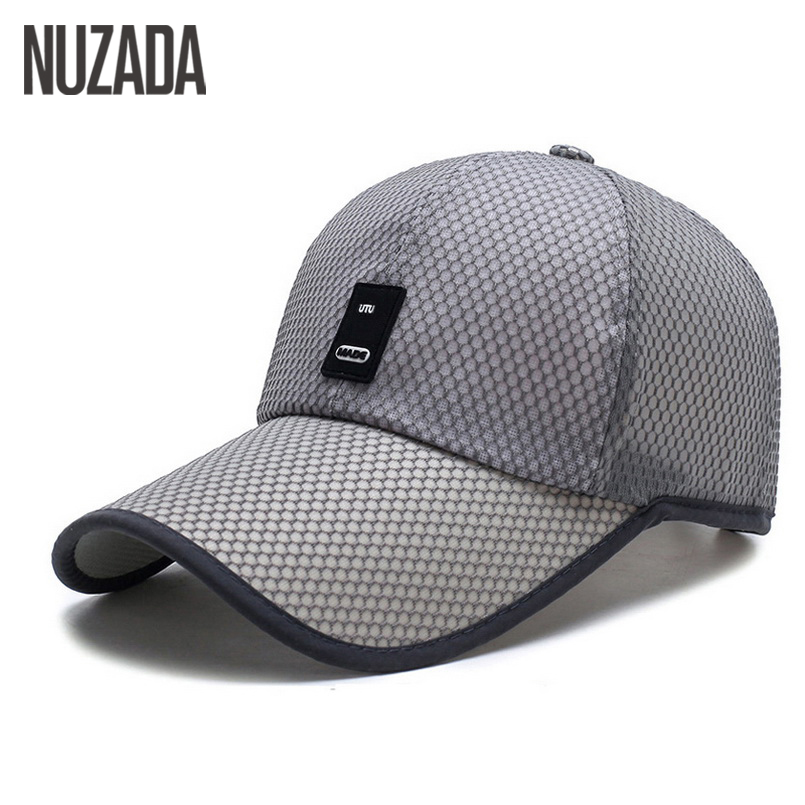 Brands NUZADA Spring Summer Baseball Caps For Men Women Hats Snapback Bone Mesh Fabric Breathable Middle Age Cap Solid Color fashion solid color baseball cap for men and women
