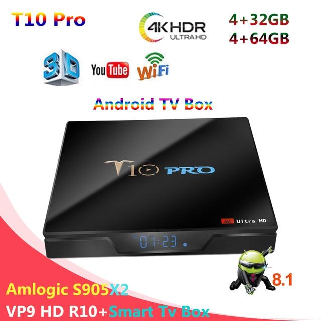 US $47.69 25% OFF|T10 Pro Amlogic S905X2 4GB DDR4 32GB 64GB TV Box Android  8.1 4K VP9 HD Smart TV Box Xiaomi mi tv (H96 tx6 Tx28 x96 mini mx9)-in ...
