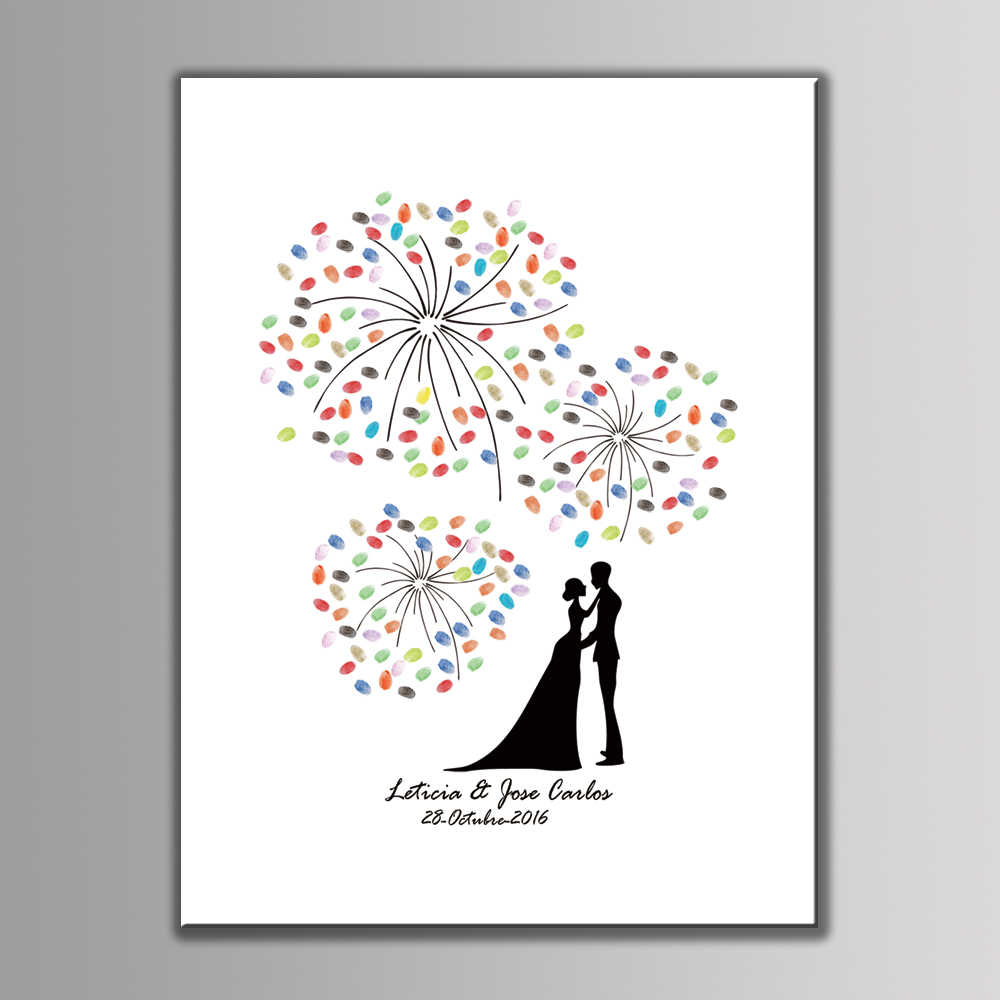 DIY Large size 60x80cm Wedding Party Decorative Canvas Painting Fingerprint Tree Signature Guest Books Anniversary Gift+Ink Pad
