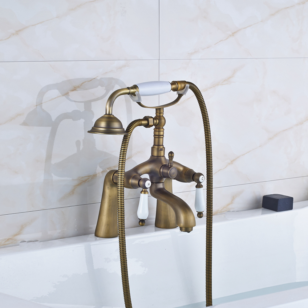 Buy Ceramic Style Deck Mounted Antique Brass Shower Tub Faucet Hot And Cold