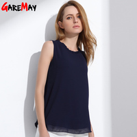 GAREMAY Women Chiffon Blouse Summer Sleeveless Camisa Candy Tops Femme Casual Fungus Collar Plus Size Cheap