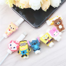 2pcs Cartoon Cable Protector For iPhonexs 5s 78 plus Cute Stitch Animal Cable Winder USB Charging Data Line Cord Protector(China)